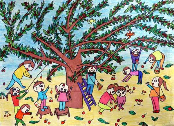 向羽亭同学的绘画作品《阳光下的收获》图片