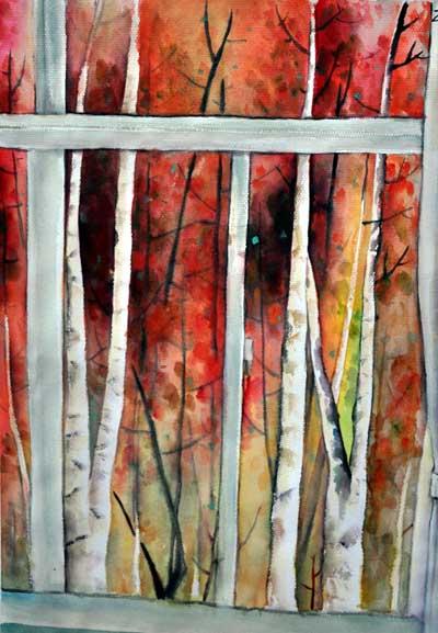 色彩画命题创作(独幅)  测试内容:《窗外》——水彩画,水粉画,铅笔淡