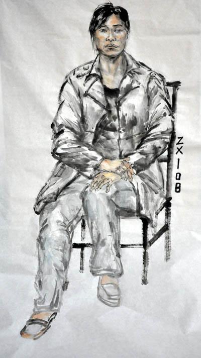 基本功比赛项目之五:国画人物写生  测试内容:女青年(半身像)——